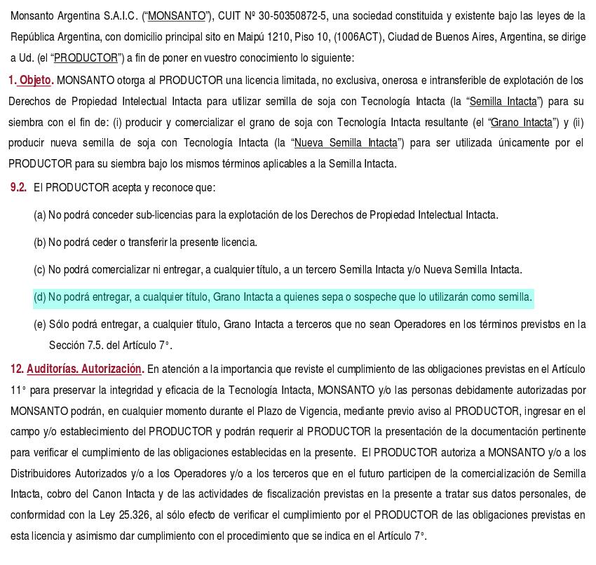Extracto de la licencia de uso de INTACTA RR2PRO