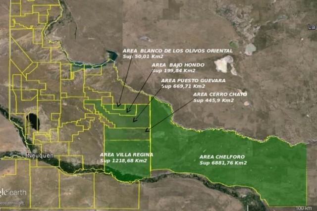 Las áreas de exploración que publicitó la Provincia.